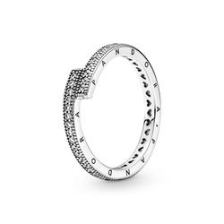 PANDORA 199491C01 Sterling silver logo ring