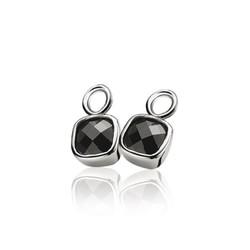 ZINZI Zilver gerhodineerde creoolhangers vierkante zwarte zirconia ZICH190Z