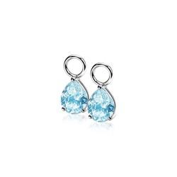 ZINZI Zilver gerhodineerde creoolhangers druppelvormige zirconia blauw in chaton ZICH1302B