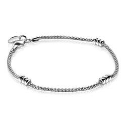 ZINZI Zilver gerhodineerde fantasie armband met zilveren rondjes 18cm ZIA1421