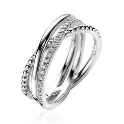 ZINZI Zilver gerhodineerde ring cross-over bolletjes glad witte zirconia's maat 50 ZIR2141