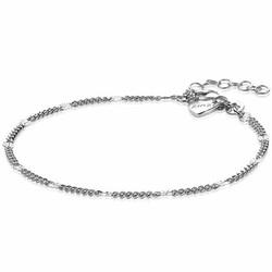 ZINZI Zilver gerhodineerde gourmet fantasie armband met gediamanteerde schakels ZIA2157