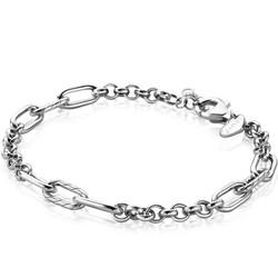 ZINZI Zilver gerhodineerde armband schakels jasseron en paperclip ZIA2205