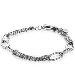 ZINZI Zilver gerhodineerde armband schakels gourmet en paperclip ZIA2206