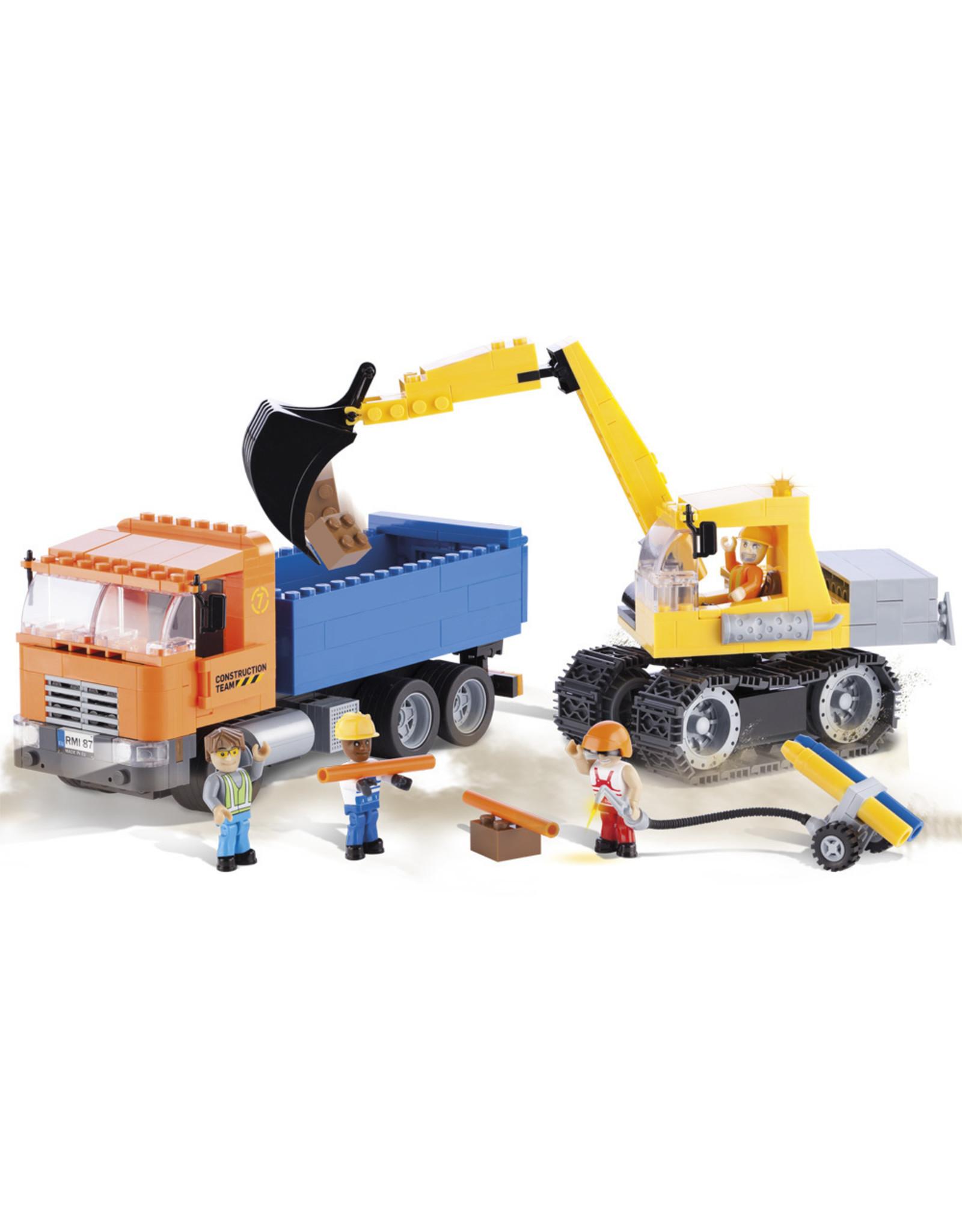 COBI COBI Action Town 1667 - Kiepwagen en graafmachine