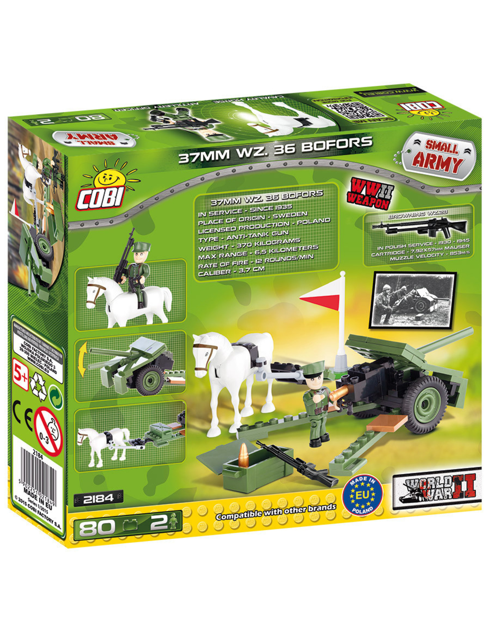 COBI COBI  WW2 2184 - 37mm WZ36 Bofors cannon