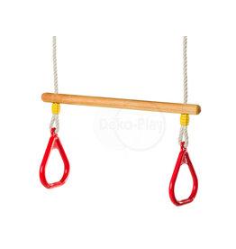 Déko-Play Déko-Play trapeze met massief kunststof ringen rood
