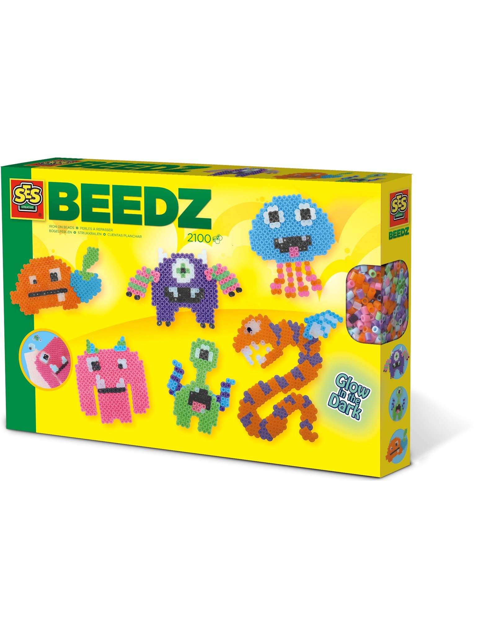SES Creative *Beedz - Strijkkralen Glow in the dark monsters