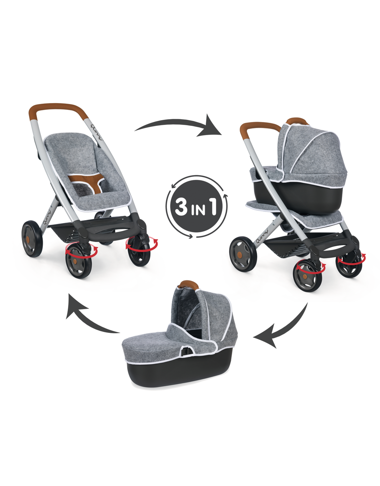 Smoby Smoby - Quinny 3-in-1 multifunctionele Poppenwagen - grijs