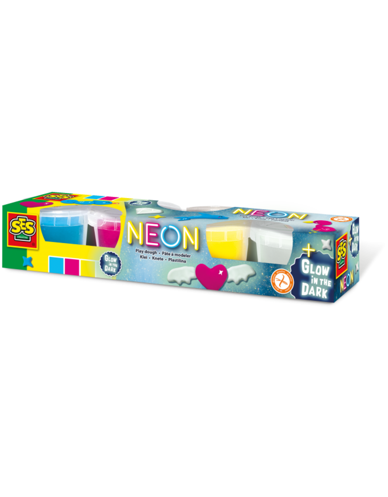 SES Creative Neon en Glow in the dark klei 4x90gr