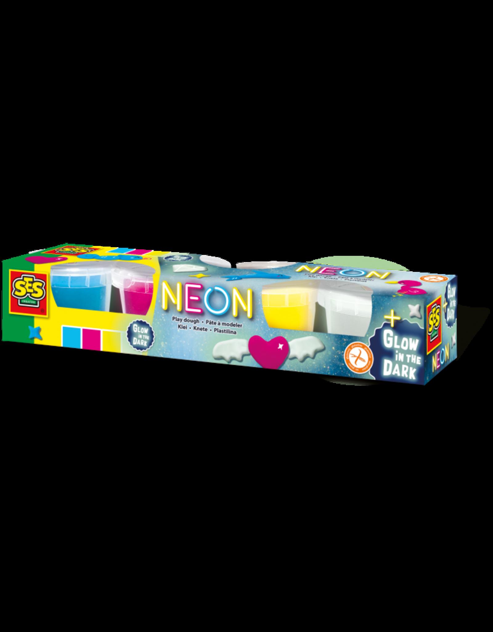 SES Creative Neon und Glow in the dark-Knete 4x90gr