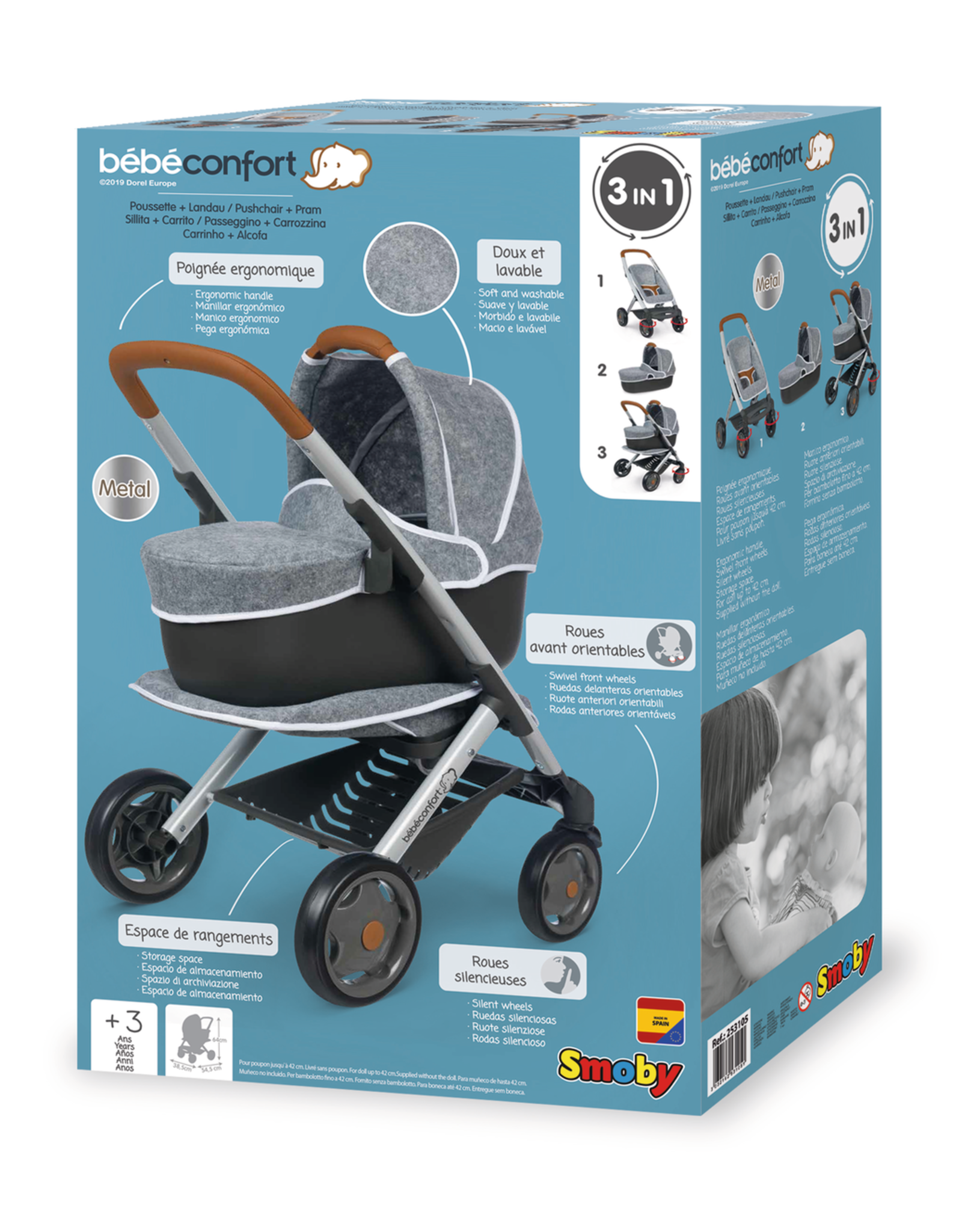 Smoby Smoby - BB-Confort 3-in-1 multifunctionele Poppenwagen - grijs