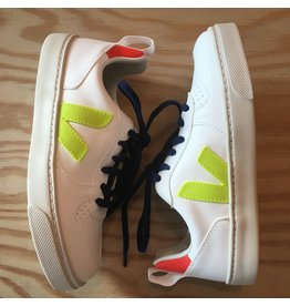 VEJA VEJA SMALL V10 LACE WHITE JAUNE FLUO ORANGE FLUO