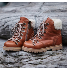 PETIT NORD PETIT NORD SHEARLING WINTER BOOTS COGNAC