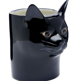 Quail Black Cat Pencil Pot