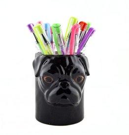 Quail Black Pug Pencil Pot