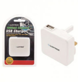 Lloytron Compact USB Charger 1000m White
