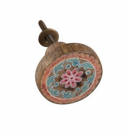 Ian Snow Hand Painted Wooded Door Knob in Blue and Peach