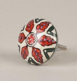 Ian Snow Red and Green Textured Ceramic Door Knob
