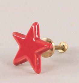 Ian Snow Red Star -Ceramic Door Knob