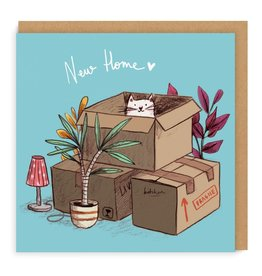 Ohh Deer New Home Cat In Boxes Greetings Card