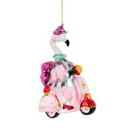 sass & belle Flamingo on Scooter Bauble
