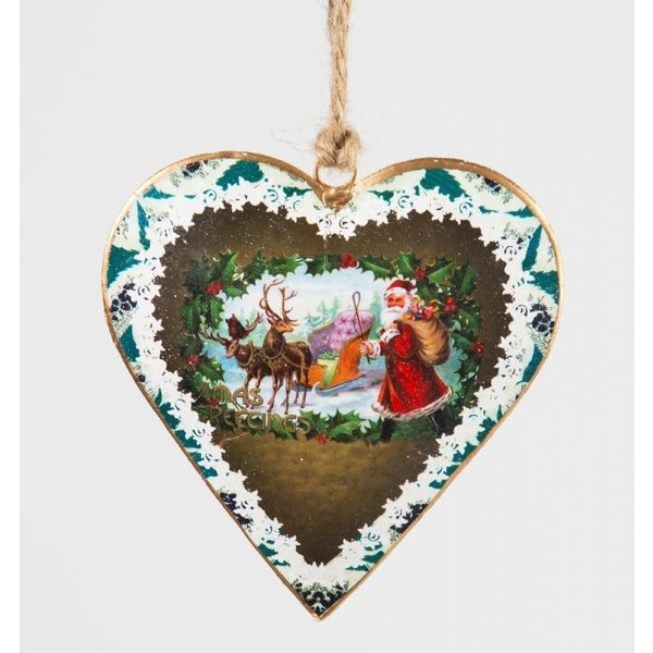 Sass & Belle Vintage Style Metal Heart Christmas Decoration