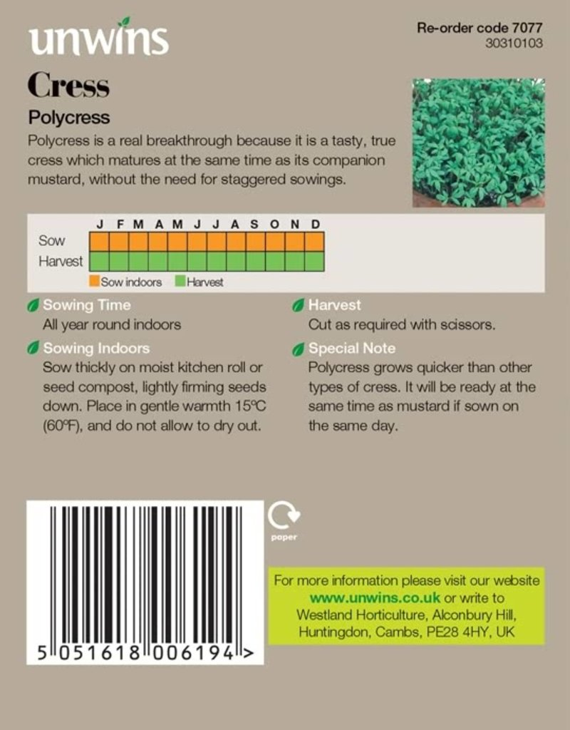 Unwins Cress Polycress