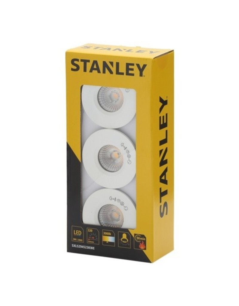 Stanley Slimline Recessed LED Fire Rated Downlighters 3w Pack 3