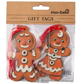 sass & belle Gift Tags, Retro Gingerbread Boy/Girl - 10 tags