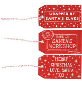 sass & belle Santas workshop gift tags