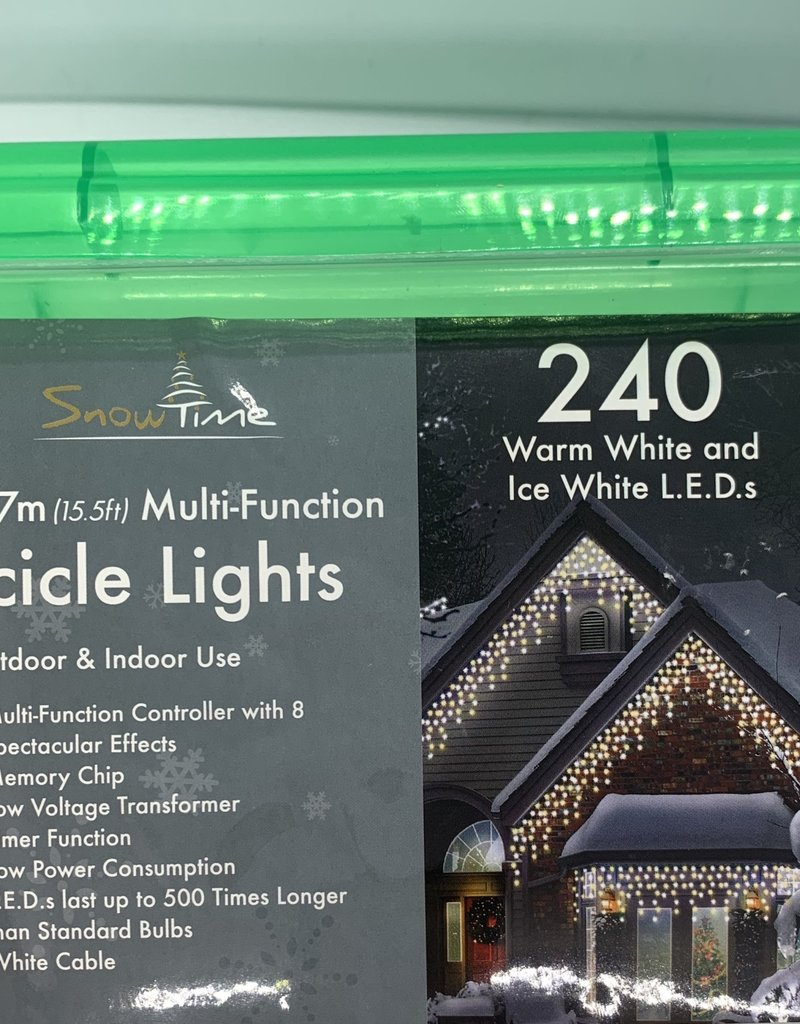 Snowtime Indoor Outdoor 500 WHITE LED  Multi Function Christmas Icicle Lights