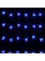 Snowtime Star curtain light 24 LEDs blue indoor/outdoor
