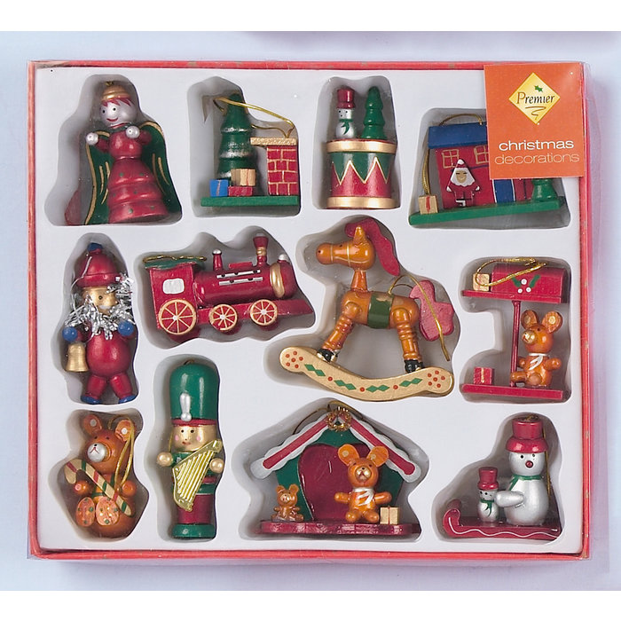 Wooden Decorations set of 12