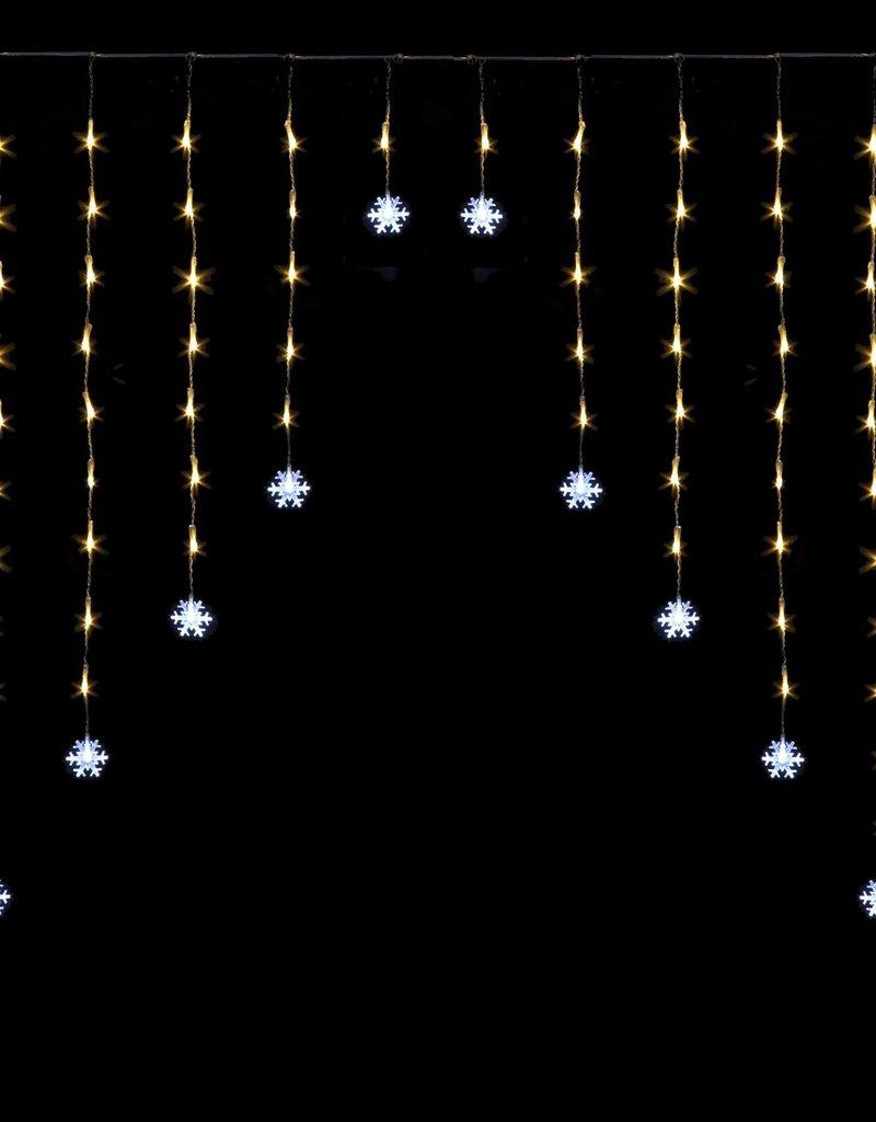 Snowtime Snowflake Curtain Light Ice White