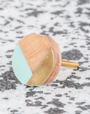 Ian Snow Geometric Aqua and Brass Wooden Doorknob