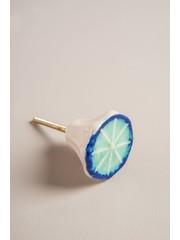Ian Snow Crackle Blue and White Knob