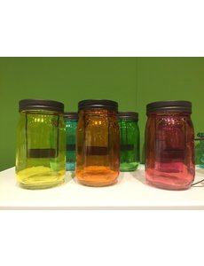 Coloured T Light jar in a variety of colours