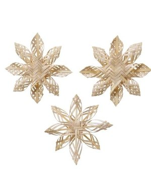 Kaemingk Christmas 20 Bamboo woven star natural 14 x 3cm - choice of 3 styles