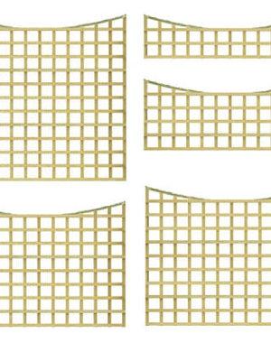 Treated Trellis Panel 6'x'1 (1800mm x 300mm) Square lattice Concave