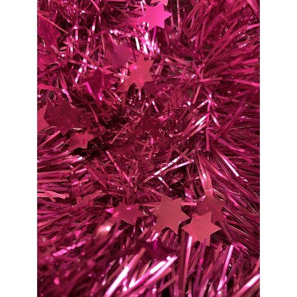 Tinsel Star garland Shiny 4ply 100mmx2.7m -Magenta