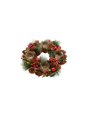 Keamingk Pine Cone Berry Wreath with Tealight holders