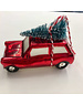 Red Glass Car With Tree Set of 2 Boxed
