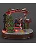 Snowtime Scene Santa and child on fence Battery Music Led 18cm