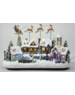 Santa with flying sleigh & reindeer- Annimate Village Scene with LEDs