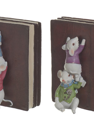 Mouses bookends with cute mice climbing