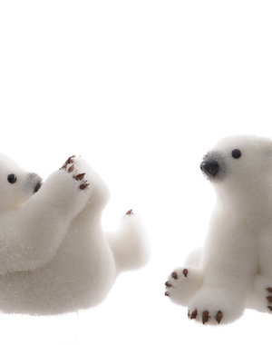 Foam Polar Bear With Snow 2 assorted Sitting  Price for one