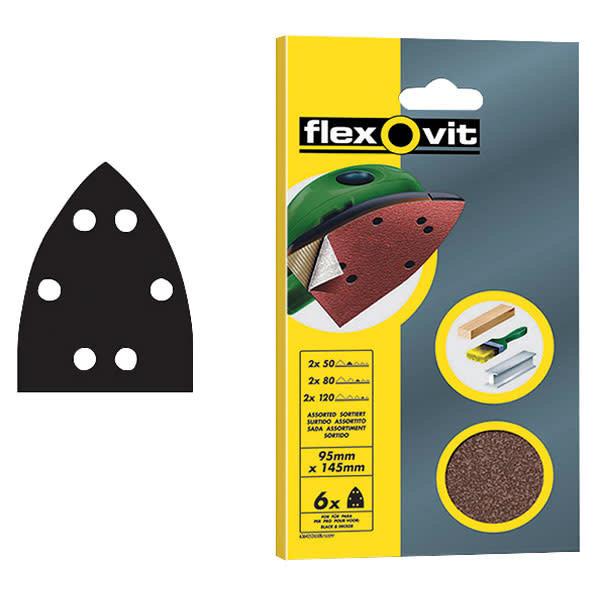 Flexovit Flexovit Sanding Sheets - 6 Pack (95 x 145mm) 60g (Coarse)