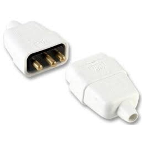 Pro-Elec In-Line Rubber Connector 3 Pin 10Amp White