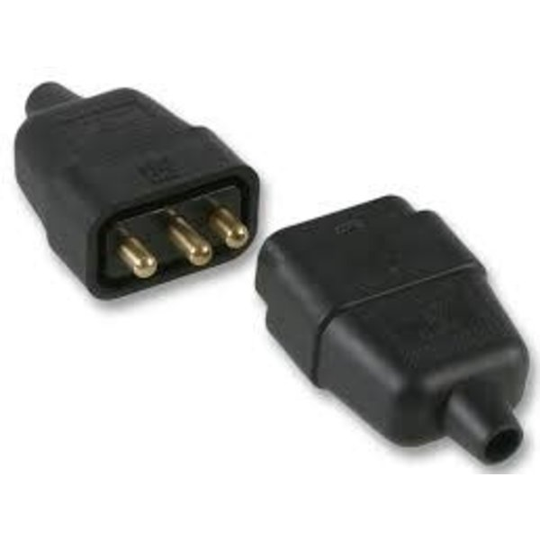 Pro-Elec In-Line Rubber Connector 3 Pin 10Amp Black